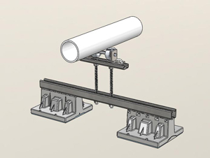 "064 - 2 Blox Bridge with Elevated 4""-6""Pipe Rollers"