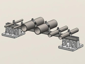 081 - 2 Blox Bridge with Multiple Pipes and Strut Clamps